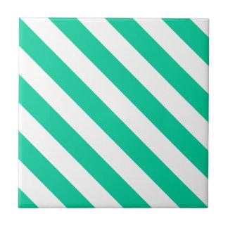 Diag Stripes - White and Caribbean Green Ceramic Tile