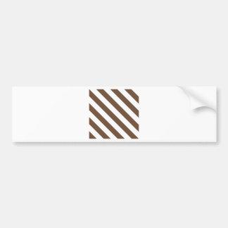 Diag Stripes - White and Coffee Bumper Sticker