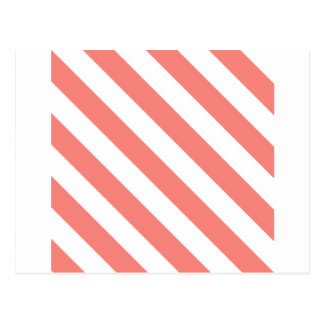 Diag Stripes - White and Coral Pink Post Cards