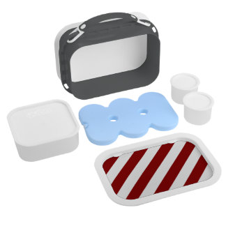 Diag Stripes - White and Dark Red Yubo Lunch Box