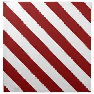 Diag Stripes - White and Dark Red Cloth Napkins