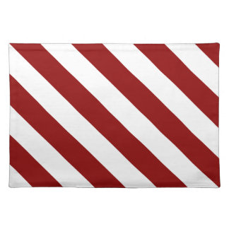 Diag Stripes - White and Dark Red Cloth Placemat