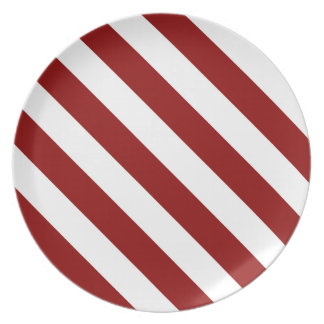 Diag Stripes - White and Dark Red Plate