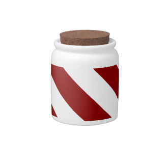 Diag Stripes - White and Dark Red Candy Dishes