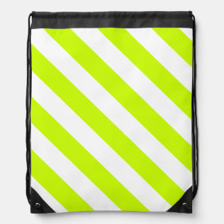 Diag Stripes - White and Fluorescent Yellow Cinch Bag