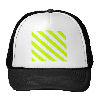 Diag Stripes - White and Fluorescent Yellow Mesh Hats