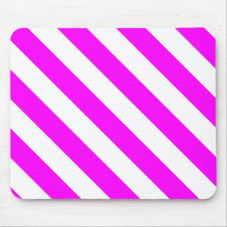 Diag Stripes - White and Fuchsia Mousepads