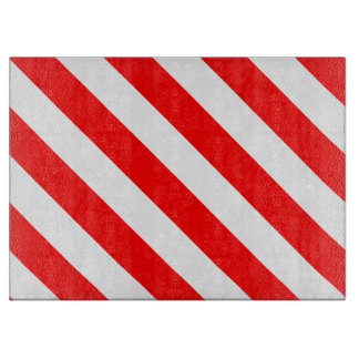Diag Stripes - White and Red Cutting Boards