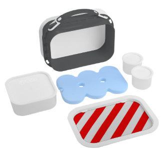 Diag Stripes - White and Red Yubo Lunch Box