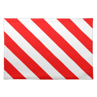Diag Stripes - White and Red Cloth Placemat