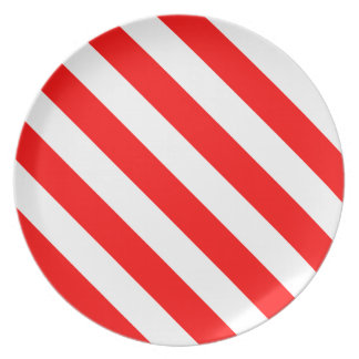 Diag Stripes - White and Red Plate