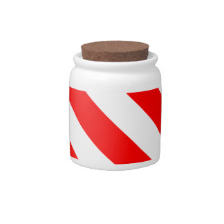Diag Stripes - White and Red Candy Jars