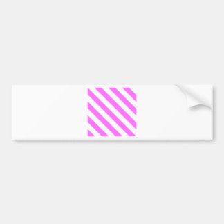 Diag Stripes - White and Ultra Pink Bumper Sticker