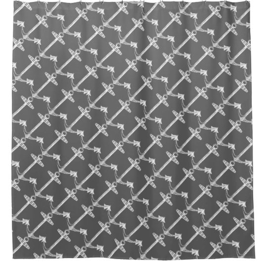 Diagonal anchors charcoal grey shower curtain