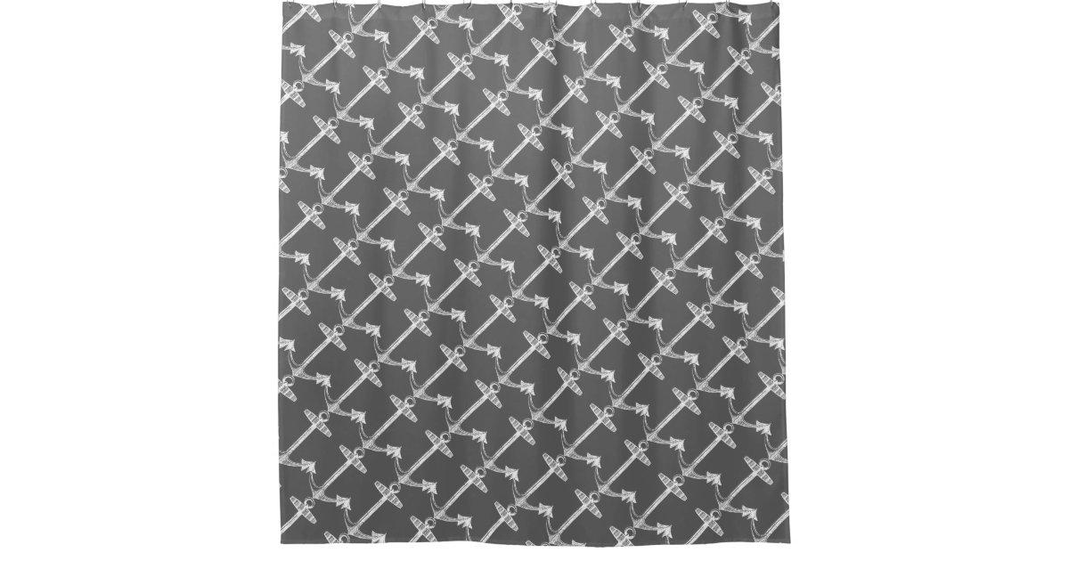 Diagonal Anchors Charcoal Grey Shower Curtain