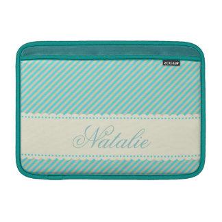 Diagonal Aqua Blue Cream Stripes Custom Name Sleeve For MacBook Air