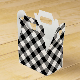 Diagonal Black and White Buffalo Plaid Favor Box Wedding Favour Boxes