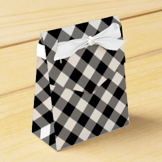 Diagonal Black and White Gingham Plaid favor box Party Favour Boxes