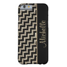 Diagonal Black Chevron Gold Personalised Barely There iPhone 6 Case