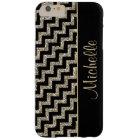 Diagonal Black Chevron Gold Personalised Barely There iPhone 6 Plus Case