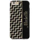 Diagonal Black Chevron Gold Personalised Tough iPhone 6 Plus Case
