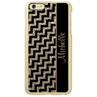 Diagonal Black Chevron Gold Personalized