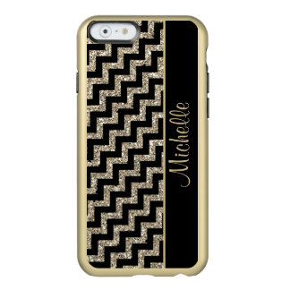 Diagonal Black Chevron Gold Personalized Incipio Feather® Shine iPhone 6 Case
