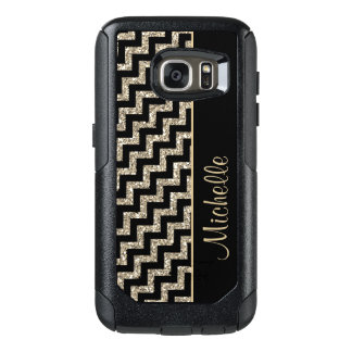 Diagonal Black Chevron Gold Personalized OtterBox Samsung Galaxy S7 Case