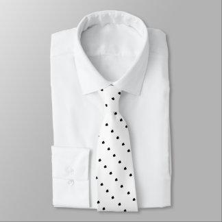 diagonal black uneven spots design white tie