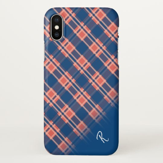 Diagonal Blue and Peach Tartan Plaid Monogram iPhone