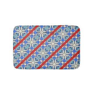 Diagonal blue mandala hearts pattern Thunder_Cove Bath Mat