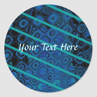 Diagonal Blues Abstract Pattern Round Sticker