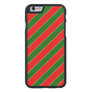 Diagonal Candy Cane Stripes-Christmas Red & Green Carved® Maple iPhone 6 Slim Case