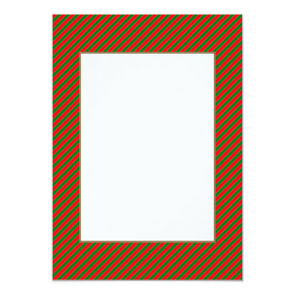 Diagonal Candy Cane Stripes-Christmas Red & Green Announcement Cards
