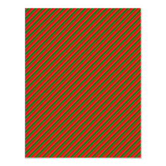 Diagonal Candy Cane Stripes-Christmas Red & Green Personalized Announcements