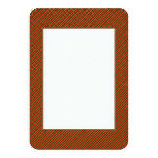 Diagonal Candy Cane Stripes-Christmas Red & Green 9 Cm X 13 Cm Invitation Card