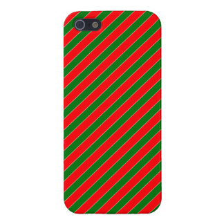 Diagonal Candy Cane Stripes-Christmas Red & Green Covers For iPhone 5
