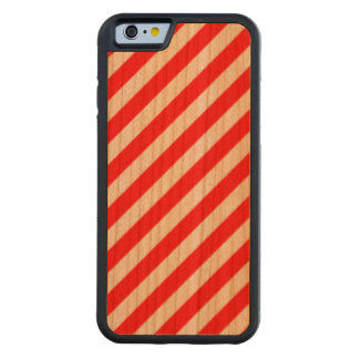 Diagonal Candy Cane Stripes-Christmas Red & White Carved® Cherry iPhone 6 Bumper Case
