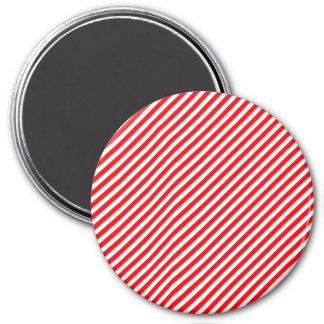 Diagonal Candy Cane Stripes-Christmas Red & White Fridge Magnet