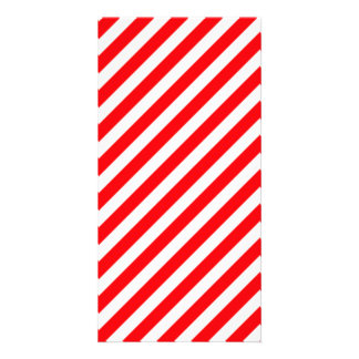Diagonal Candy Cane Stripes-Christmas Red & White Photo Greeting Card