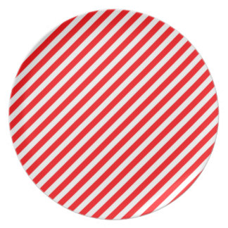 Diagonal Candy Cane Stripes-Christmas Red & White Dinner Plate