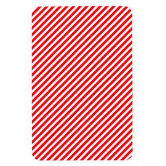 Diagonal Candy Cane Stripes-Christmas Red & White Flexible Magnets