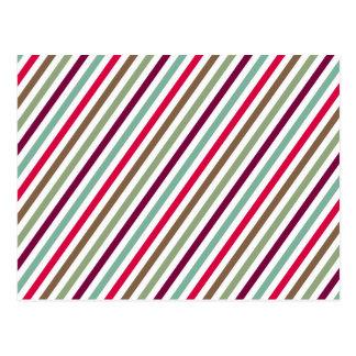 Diagonal Chic Multicolored Stripes Postcard