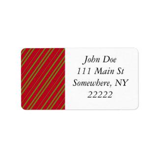 Diagonal Christmas Stripes Address Label