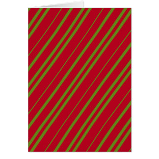 Diagonal Christmas Stripes Note Card