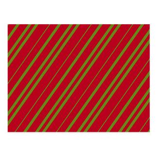 Diagonal Christmas Stripes Postcard