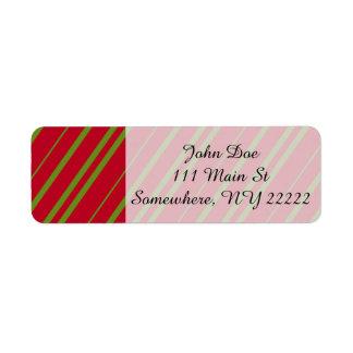 Diagonal Christmas Stripes Return Address Label
