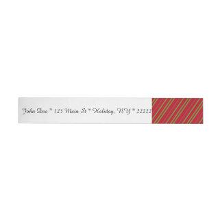 Diagonal Christmas Stripes Wraparound Address Label