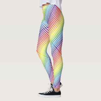 Diagonal Colourful Rainbow Polkadots Leggings