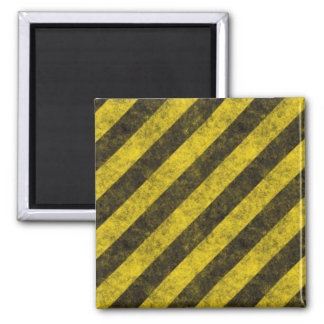 Diagonal Construction Hazard Stripes Square Magnet